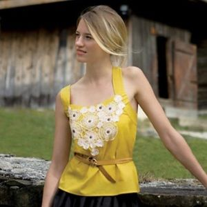 Anthro Floreat Pasque Floral Mustard Gold Tank Top